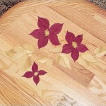 flower design on hardwood flooring